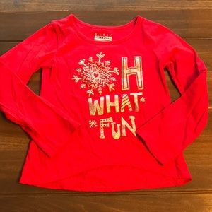 Girls Red/Silver Holiday Long Sleeve T-Shirt